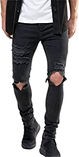 Men's Stretch Skinny Ripped Jeans with Knees Rips Distressing in Black Wash