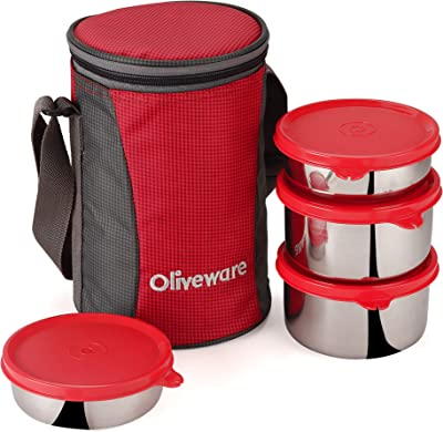 Oliveware Gusto Lunch Box | 4 Steel Containers with Insulated Bag | Office & Students Use | Leak Proof & Air Tight | Highgrade Carry Bag Red
