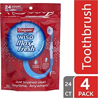 Colgate Max Fresh Wisp Disposable Mini Toothbrush, Peppermint - 24 Count (4 Pack)