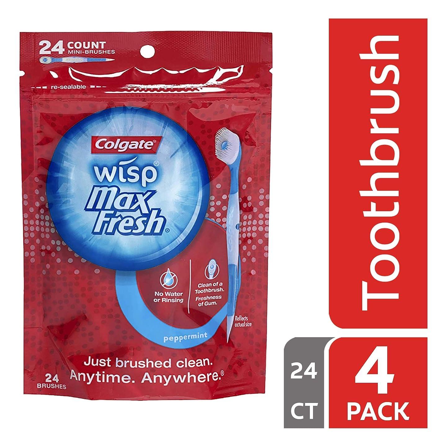 ベーコン夢中かわいらしいColgate Max Fresh Wisp使い捨てミニ歯ブラシ