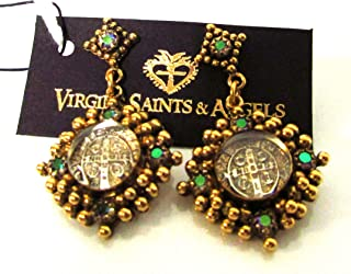 Virgins Saints and Angels Petite Cloister Post Earrings, Gold/Paradise
