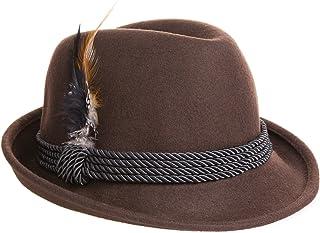 Alpine Holiday Oktoberfest Wool Bavarian Fedora Hat - Brown Color - Size Large (L)