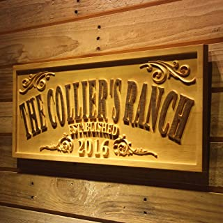 ADVPRO wpa0354 Name Personalized The Ranch Farm Decoration Established Year Gifts Wood Engraved Wooden Sign - Large 26.75