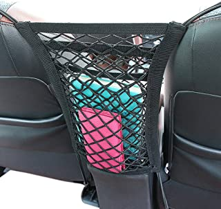 """SNBLO Cargo Net - Car Organizer Dual Layer Mesh Organizer, [12.6""""x11""""] Car Pet Barrier- Dog Barrier to Keep Your Pets and Drivers Safety in Travel, with Bonus Free Hooks"""