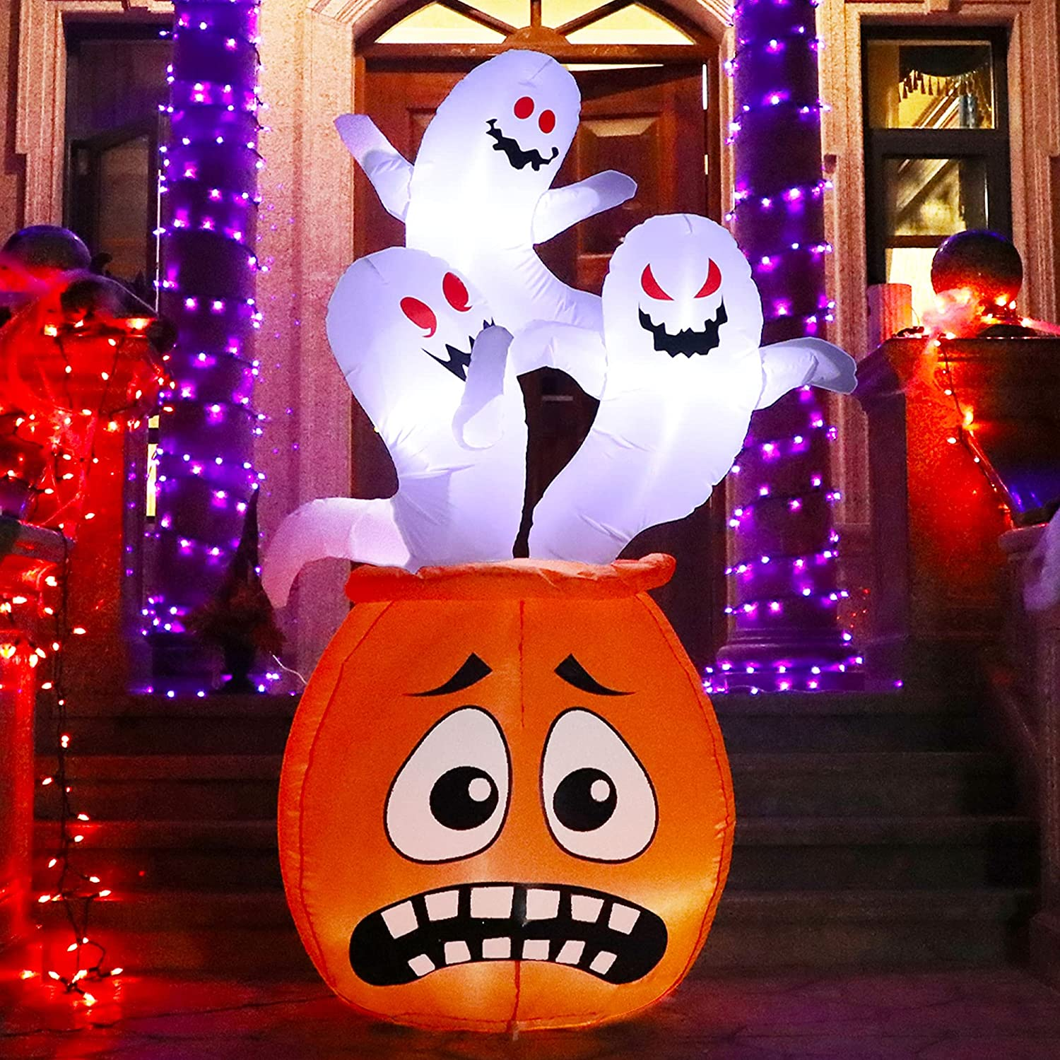 Joliyoou Halloween Blow Up Yard Decoration, 6 FT White LED Lighted Inflatable Pumpkin with Three Ghosts Standing On, Inflatable Holiday Yard Lawn Garden Decorations for Indoor and Outdoor