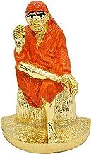"Sai Baba 2.7"" Gold Plated Resin Statue, Orange Color"