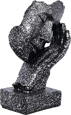 Webelkart Poly Resin Human Face Sculptures Showpieces Creative Traditional Idea with Modern Theme Abstract Design Art Figurines for Home Living Room Decorative Display (Black, Silver)