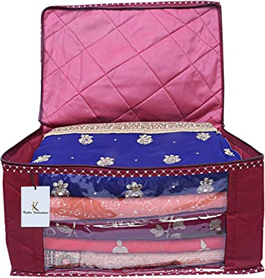 Kuber Industries 3 Layered Quilted Cotton Saree Cover (Maroon) - CTKTC23167