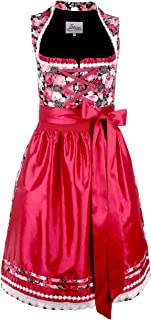 Iseaa Damen Dirndl Kleid Dirndlkleid Trachtenkleid Midi Mariola mit floralen Akzenten Bordeaux