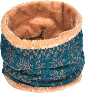 Winter Double-Layer Fashion Fleece Lining Knit Neck Warmer Circle Scarf Windproof