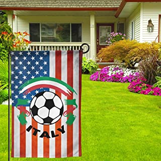 Italian Flag And Football Home Decorative Vertical Double Sided Garden Flag Country House Banner Flag 12.5