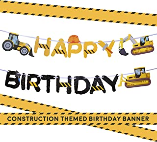 Construction Birthday Party Supplies Banner by Aliza | Baby Boy Toddler Kids Birthday Truck Decorations – Huge 8-feet Long Under Construction Decor – The Perfect Decoration for Your Party