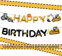 Construction Birthday Party Supplies Banner by Aliza   Baby Boy Toddler Kids Birthday Truck Decorations – Huge 8-feet Long Under Construction Decor – The Perfect Decoration for Your Party