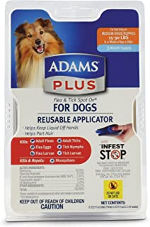 Adams Plus Flea and Tick Spot On for Dogs, Medium Dogs 15-30 Pounds, 3 Month Supply, With Applicator
