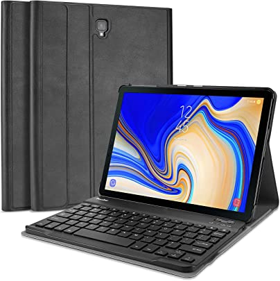 ProCase Galaxy Tab 10 5 Zoll Tastatur H lle QWERTY-US Layout   Ultrad nn Klappen Schutzh lle mit Magnet Abnehmbarer Kabellos Englisch Tastatur f r Galaxy Tab 10 5 Zoll T590 T595  Schwarz
