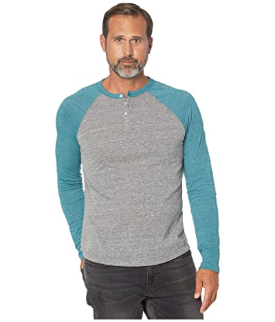 Alternative Eco Long Sleeve Raglan Henley (Eco Grey/Eco True Alpine Teal) Men