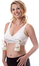 Classic Pump&Nurse Bra, All in one Nursing and Hands Free Pumping Bra with Adjustable Back Clasp - White, L