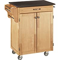 Create-a-Cart Natural Kitchen Cart w/Black Granite Top