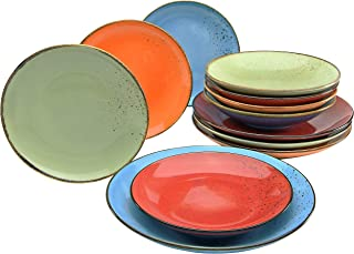 CreaTable 20964, Mediterranean Nature Collection Series, Dinnerware, Plate 12-Piece Set, stoneware