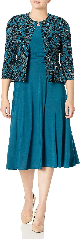 Jessica Howard Women's 2 Piece 3/4 Sleeve Peplum Jacket and Sleeveless Ruched Waist Dress