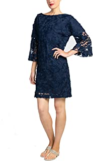 Badgley Mischka Navy Lace Bell Sleeve Dress