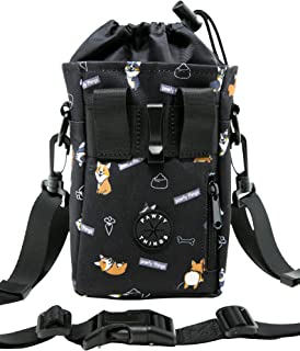 PAWTY THINGS - Corgi Dog Treat Training Pouch - Built-in Waste/Poop Bag Dispenser - 3-Ways to Wear w/Waist Clip, Waist Har...
