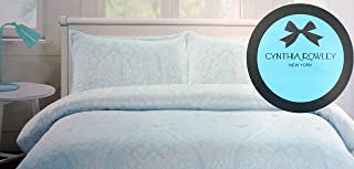 Cynthia Rowley Bedding 3 Piece Full Duvet Cover Set Geometric Floral Medallions in White on a Light Aqua Blue Background