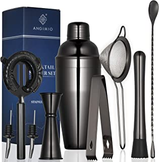 Premium 9-Piece Cocktail Shaker Set by Angimio: Stainless Steel Bartender Kit: 25oz (750ml) Martini Mixer, Cocktail Strain...