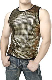 JOGAL Men's Metallic Silver Sequins Fitted Sleeveless Muscle Tank Tops