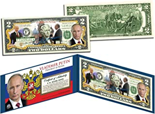 VLADIMIR PUTIN Colorized $2 BillLegal Tender Currency President of Russia - Banknote History rare, genuine limited for collectors