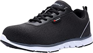 LARNMERN Steel Toe Womens Safety Shoes, Breathable Lightweight Reflective Strips SRB Industrial Construction Shoes (8.5, Flyknit Black)