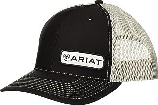 قبعة شبكية خلفية من النسيج الشبكي مطبوع عليها اسم الأوفست للرجال من Ariat، أسود، مقاس واحد