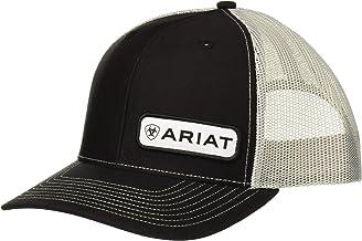 ARIAT Men's Offset Name Patch Mesh Back Cap, Black, One Size