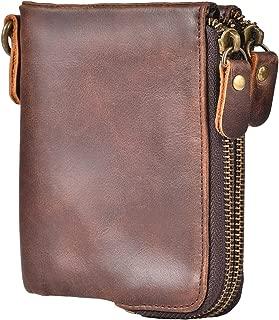IDEAWIN Vintage Bifold Wallet RFID Blocking Cowhide Leather Double Zipper Wallet
