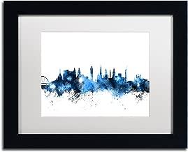 Glasgow Scotland Skyline White by Michael Tompsett, White Matte, Black Frame 11x14-Inch