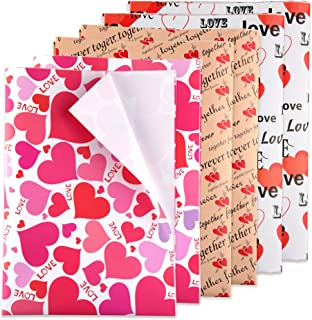 TUPARKA 6 Pcs Heart Wrapping Paper Printed Patterned Tissue Valentines Gift Wrap Red Tissue Paper for Gift Wrap Supply(5070CM)