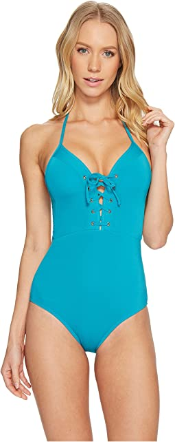 JETS by Jessika Allen - Jetset Plunge Lace-Up One-Piece