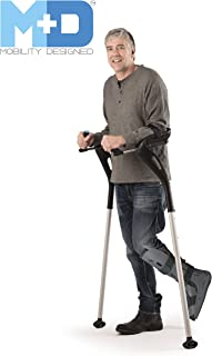 "Forearm Crutches, 1 Pair Hands-Free Crutch Cane with Ergonomic Design - Two Walking Support Crutches, Adult Fit (4'11""- 6'8"") Adjustable Crutches, Mobility Support Injury/Disability/Elderly (Black)"