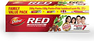 Dabur Red Ayurvedic Paste - Complete Dental Care - 200g+100g with free Binaca Tooth Brush worth Rs 21