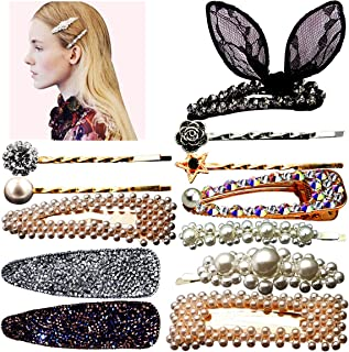 12pcs Pearls Hair Clips Glitter Rhinestones Hair Clips for Women Metal Hair Clips Hair Barrettes hairpins Wedding Party Decoration Hair Accessories
