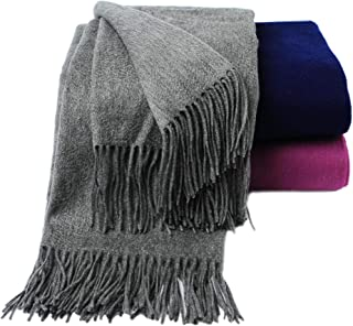 CUDDLE DREAMS Premium Cashmere Throw Blanket with Fringe, Luxuriously Soft (Gray)