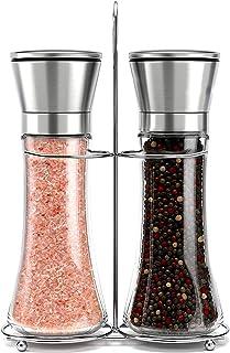 Willow & Everett Stainless Steel Salt and Pepper Grinder Set -Tall Shaker, Adjustable..