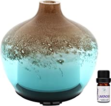 Prairie Essentials Tan and Turquoise Glass Essential Oils 200ml Diffuser with 5ml Sample Size bottle of Lavender Essential Oil