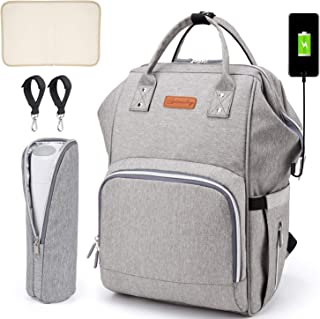 SCIONE Large Diaper Bag Baby Backpack for mom with USB Charging Port Waterproof Multifunctional Travel Back Pack Maternity Baby Nappy Changing Bags, Large Capacity and Stylish