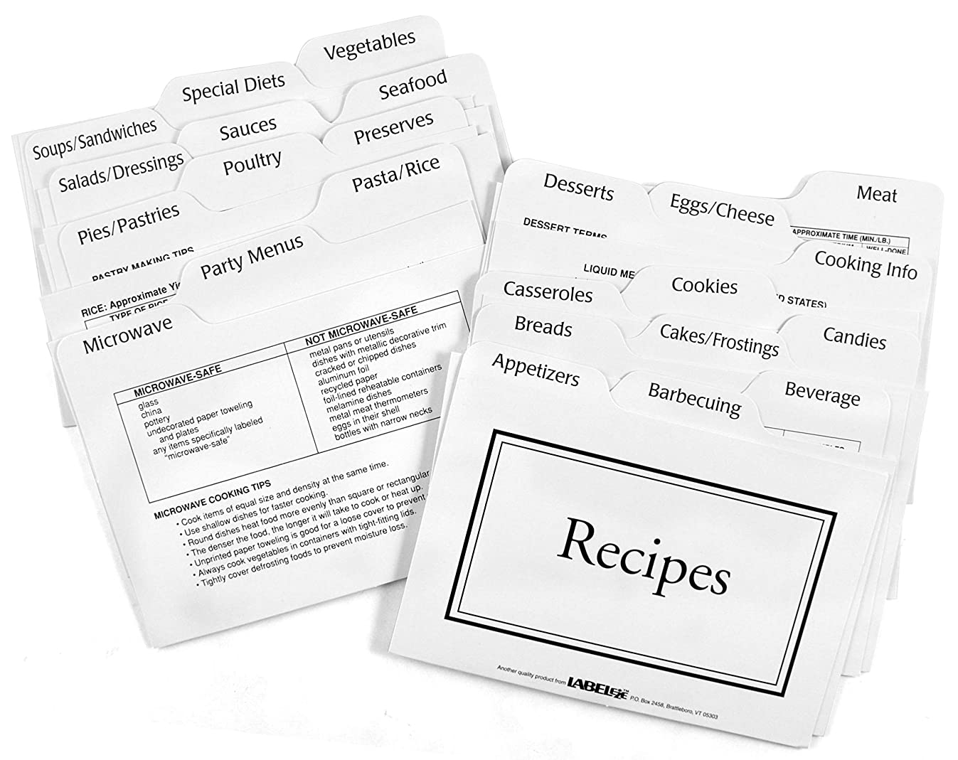 Labeleze 4-by-6-Inch Recipe Card Divider Set