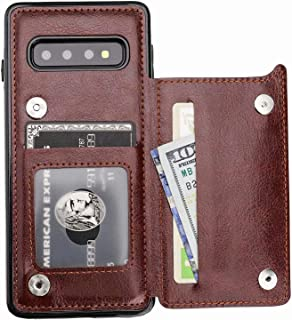 Vaburs S10 Plus Case Wallet with Card Holder, Vaburs Premium PU Leather Double Magnetic Buttons Flip Shockproof Protective Case Cover for Samsung Galaxy S10 Plus(Brown)