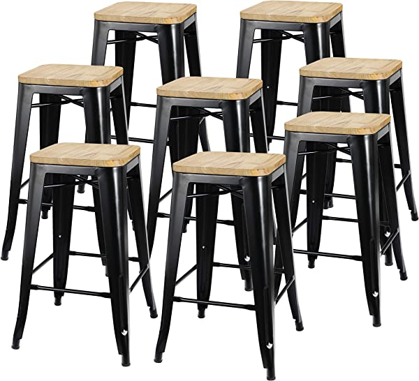 ZENY Set Of 8 Metal Bar Stools 26 Counter Height With Wooden Seat Stackable Indoor Outdoor Barstools 330 Lbs Capacity