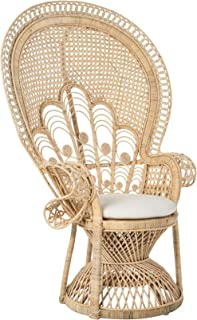 KOUBOO 1110138 Rattan with Seat Cushion, Natural Color Lady Peacock Lounge Chair, Light Brown