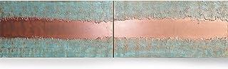 cobre y pátina Abstracto A444 - díptico industrial con textura, arte original, pinturas abstractas con textura del artista...