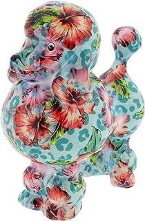 POMME-PIDOU dekoracyjna skarbonka pudel Paryż | M | ceramika | niebieski | wzór miętowego pocałunku hibiskus